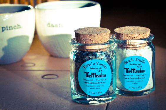 The Meadow Black Truffle Finishing Salt and Taha'a Vanilla Finishing Salt sold at Bit of Local. Local Farmers Market Finds Delivered to Your Inbox