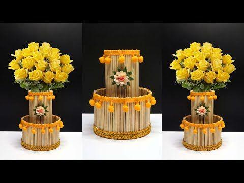 Ide Kreatif Vas Bunga Dari Stik Bambu Tusuk Sate Youtube Di 2020 Kreatif Bambu Vas