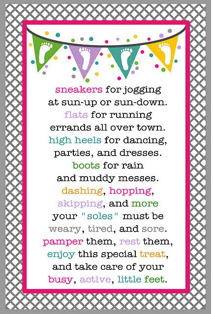 "Rest your ""Soles"" - To make this gift you will need:  Any kind of basket, box, or cute bag  A combination of any of the following:  Slippers  Socks  Nail Polish  Nail Clippers / File  Foot Scrub  Lotion  Then attach the following poem!"