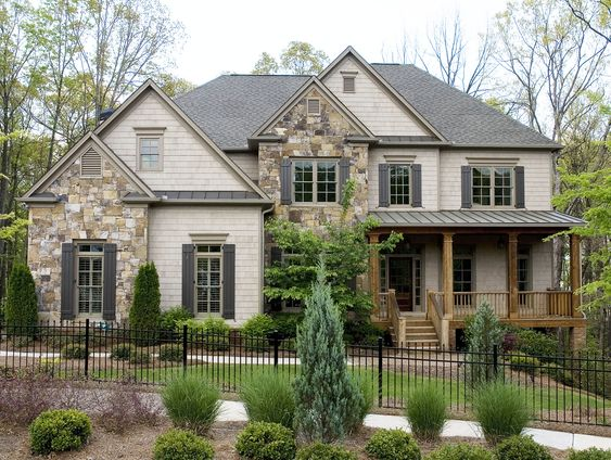 2nd floor master suite and butler pantry on pinterest for Mixing brick and stone exterior