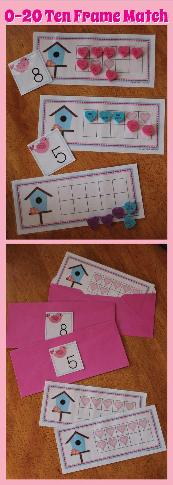 Valentine Bags For Kindergarten : Valentine s day math activity ten frame match