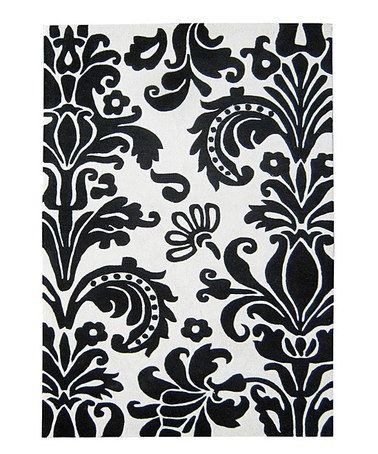 Take A Look At This Black U0026 White Damask Rug By Alliyah Rugs On #zulily