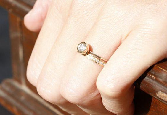 Elegant and Simple Diamond Set Ring  by anaisjewelrydesign on Etsy