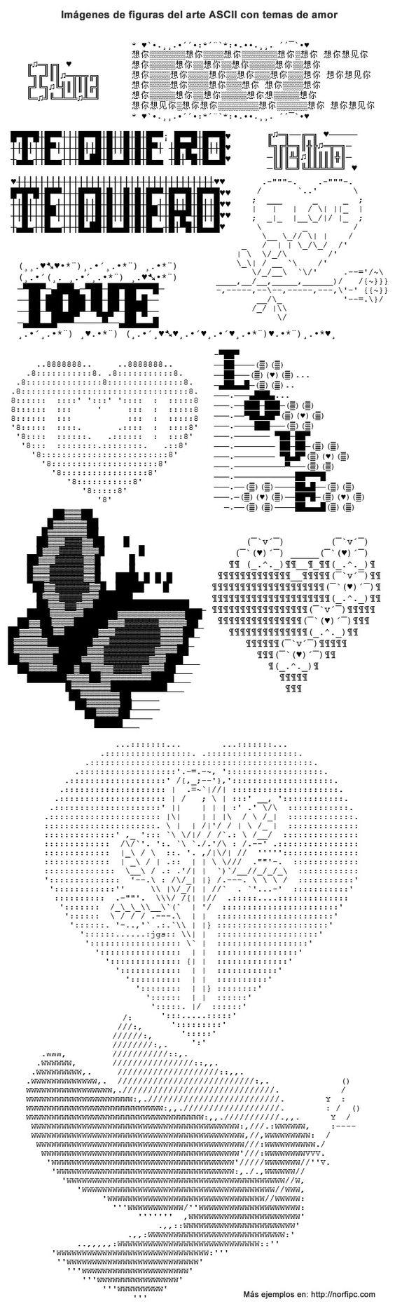 Imagen que muestra varios dibujos con temas de amor hechos usando el arte ASCII, para Facebook