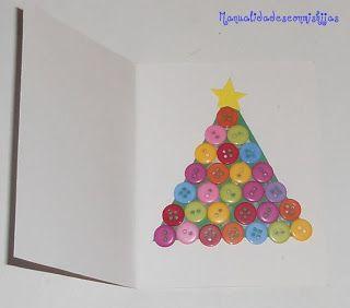 con mis hijas tarjeta navidea con botones kids craft christmas card