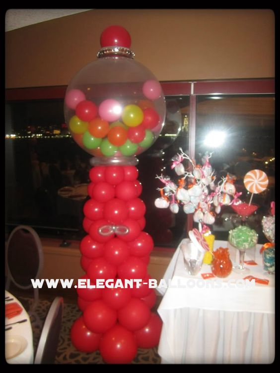 Gumball machine for candy themed sweet 16 elegant for Balloon decoration machine