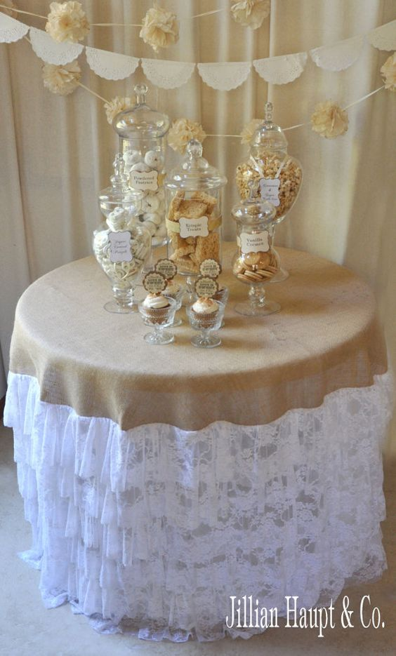 Vintage style wedding white lace and burlap by jillianhaupt:
