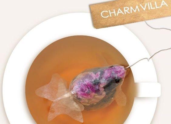 Charm Villa 金魚ティーバックをお湯に浸かると、きれいな色の金魚に変身!  Charm Villa Golden Fish Tea Bag from the Tea Country Taiwan...nice Food Art!