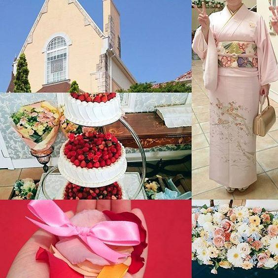 友人の結婚式でした(*´ω`*)とっても素敵でした✨✨着物暑いかな(;゜∇゜)💦💦と思ってましたが風が心地よかったです。  #着物 #和服 #kimono #一張羅 #東亜和裁 #toawasai #新舞子