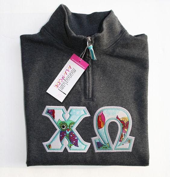 1/4 Zip Chi Omega Greek Letter Applique Sweatshirt with Owls by monogramalamodeshop on Etsy https://www.etsy.com/listing/220003518/14-zip-chi-omega-greek-letter-applique Sorority Sweatshirt, Sorority Letters