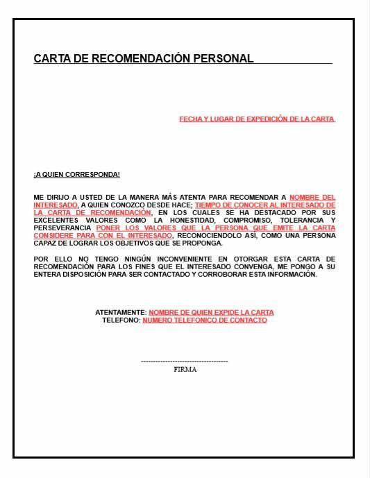 Trabajo Personal Trabajo Formato De Carta De Recomendacion Carta De Recomendacion Carta De Referencia Cartas De