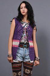 70's Left Hand Crochet Gilet - Vintage 70s Purple Macrame Crochet Sheer Boho Hippie Gypsy Festival Sweater Vest