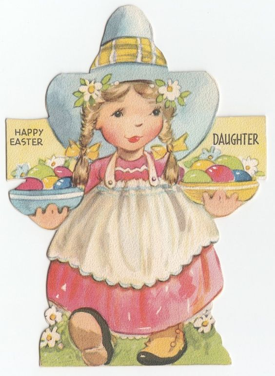 Vintage Greeting Card Easter Eggs Dutch Girl Die Cut Gibson JG Scott 1940s J798 | eBay