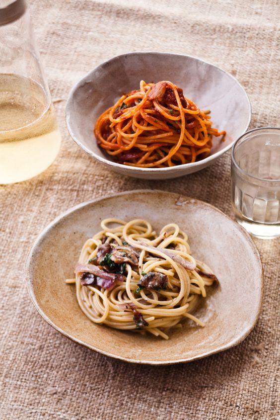 Bucatini All'Amatriciana - with spicy tomato sauce and Italian bacon by Mario Batali