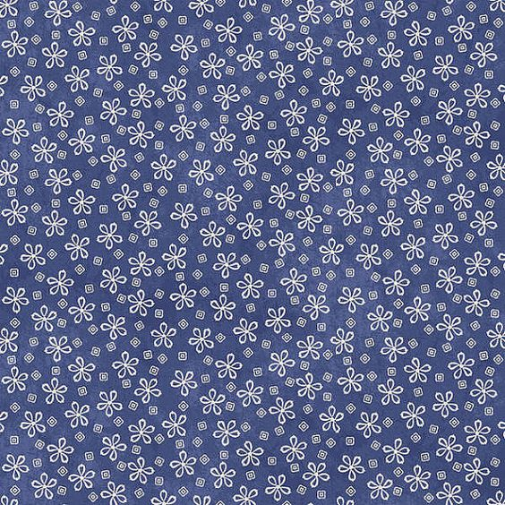 SNOW HAPPENS Blue Daisy Style Print Quilt Fabric by MomTheQuilter, $10.25