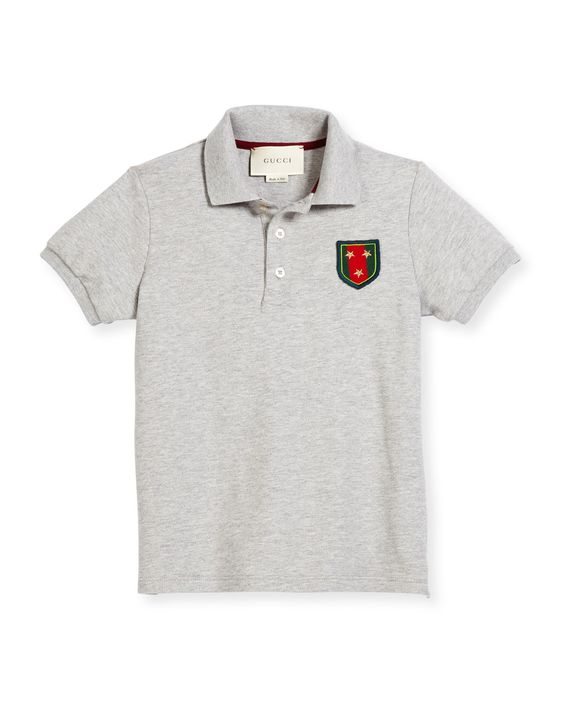 Short-Sleeve Pique Polo Shirt, Gray, Size 4-12