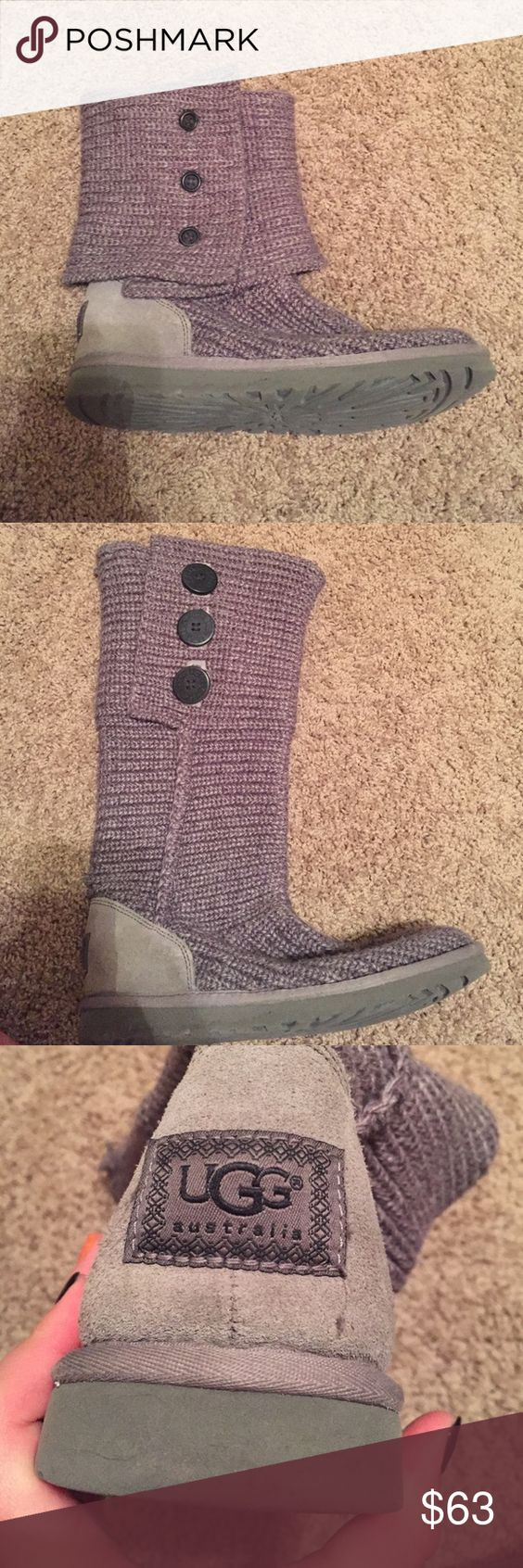 Ugg Sweater Boots These boots are super comfortable, they have been worn but have been well taken care of. They can be worn rolled down or all the way up. They stretch to fit large calves. UGG Shoes