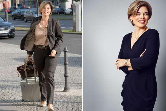 """Vorher - Nachher: In einem Kleid von Anja Gockel posiert die Oppositionsführerin im Mainzer Landtag für """"Gala"""". Das Foto links ist noch nicht mal ein Jahr alt, es stammt vom September 2013."""