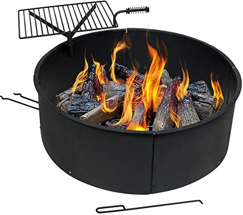 New Sunnydaze Wood Burning Fire Pit Campfire Ring Cooking Grate Fire Poker 36 Inch Outdoor Camping Firepit Heavy Duty 2mm Thick Steel Bbq Grill Online In 2020