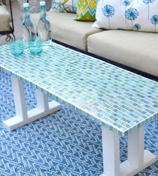 Here S An Idea For An Outdoor Table Create A Mosaic Tile Table From Wood Ti