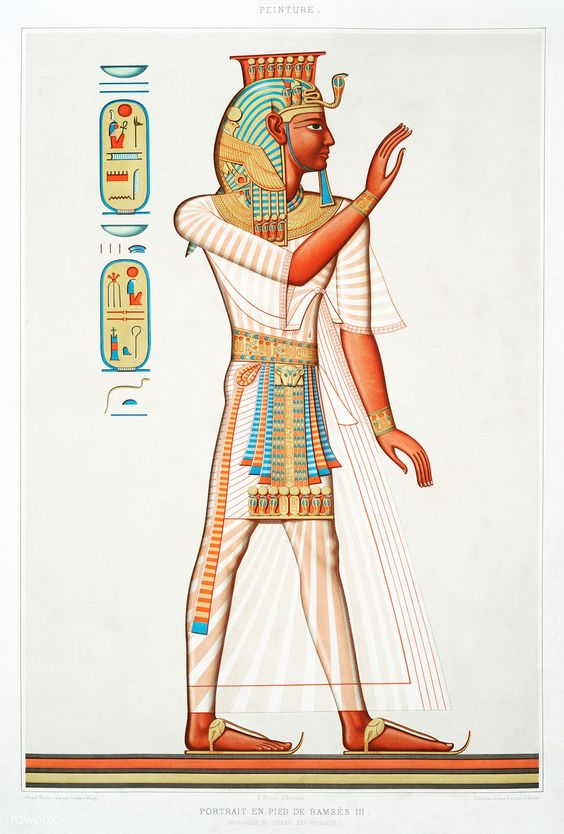 Full portrait of Ramses III from Histoire de l'art égyptien (1878) by Émile Prisse d'Avennes. Original from The New York Public Library. Digitally enhanced by rawpixel. | free image by rawpixel.com / New York Public Library (Source)