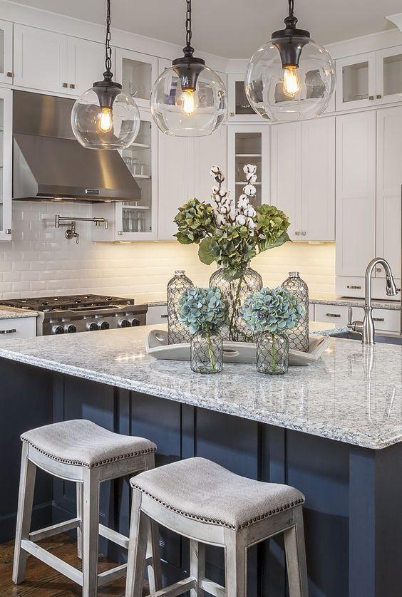 Gl Pendant Lights Over Kitchen