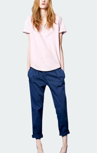 Blue Belted Cotton Trousers