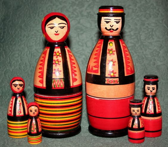 Rare UKRAINIAN MATRYOSHKA FAMILY OF HUTSULS UKRAINE Kosiv Wooden Doll Matriochka #MATRYOSHKA
