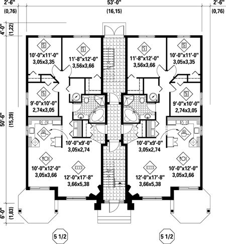 First floor plan of multi family plan 52764 multi plex for Multi family house plans