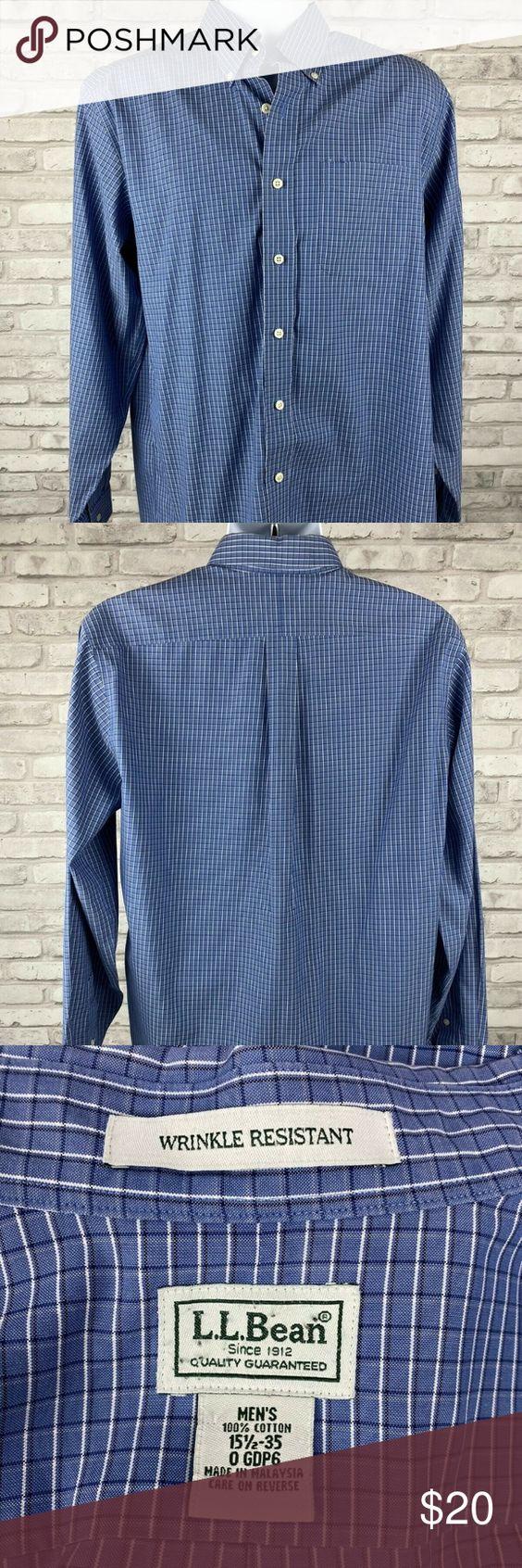 Ll Bean Long Sleeve Blue White Checked Plaid Blue And White Casual Button Down Shirts