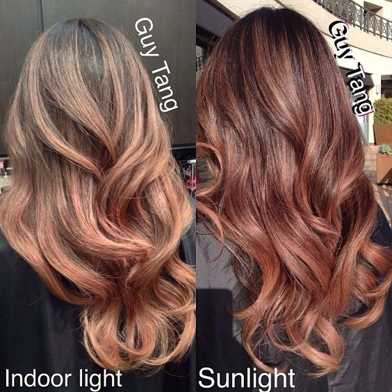natural rose gold in indoor light and sunlight balayage. Black Bedroom Furniture Sets. Home Design Ideas