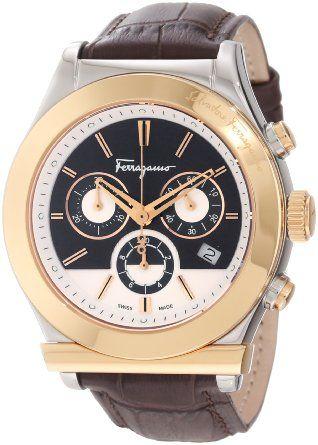 Ferragamo Men's F78LCQ9595 SB25 Ferragamo 1898 Steel Case Gold Ion-Plated Bezel Brown Dial Leather Chronograph Watch