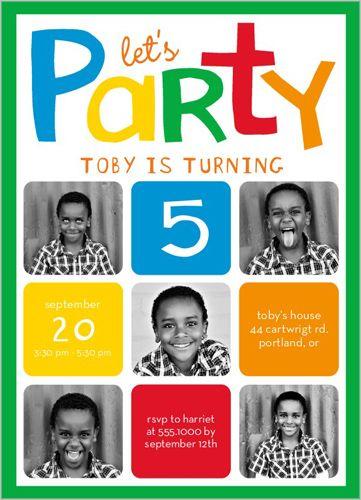 Let's Party Boy Birthday Invitation