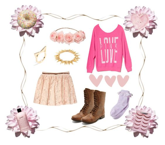 """""""Pink Autumn"""" by lovely-outfits ❤ liked on Polyvore featuring Charlotte Russe, Victoria's Secret PINK, philosophy, Shabby Chic and BaubleBar"""