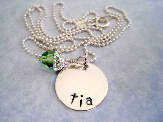 Hand Stamped Tia Necklace sterling silver green by marybeadz, $30.00