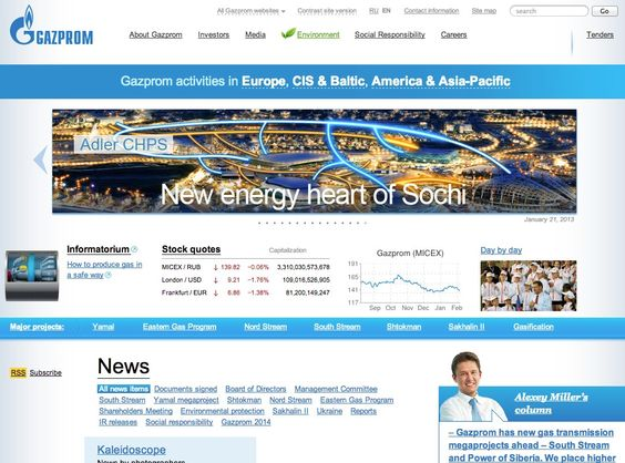Gazprom    (via http://www.gazprom.com/ )