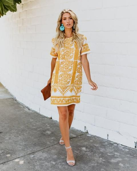 Sunseeker Embroidered Shift Dress - Mustard – VICI