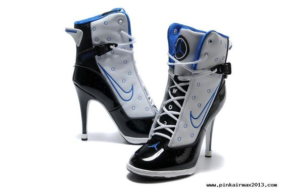 Authentic Nike Air Jordan 6 Rings Womens High Heels White Black Blue