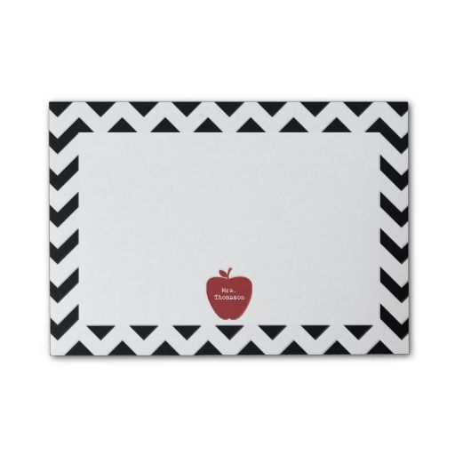 Red Apple Black Chevron Teacher Post-it Notes from The Pink Schoolhouse