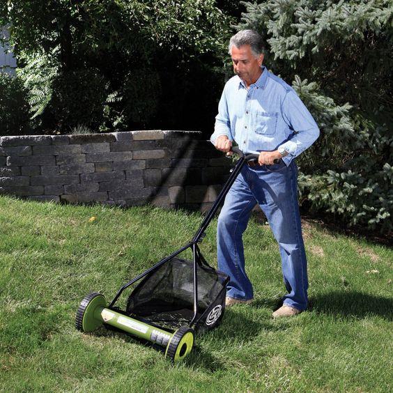 Sun Joe Mow Joe Mj500m 16 Inch Manual Reel Mower With Catcher Walk Behind Lawn Mowers Reel Mower Reel Lawn Mower Push Lawn Mower