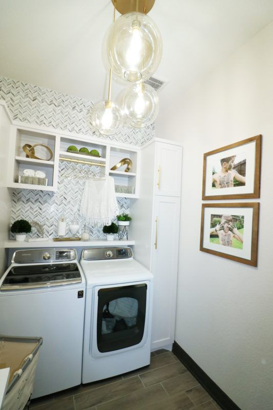 Laundry Room Makeover Built In Top Loader Washer And Dryer