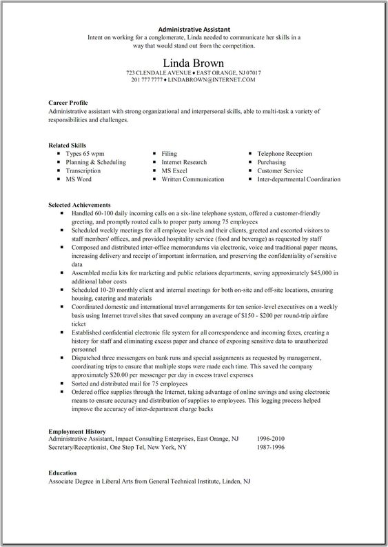 Administrative assistant resume, Administrative assistant and - sample resume for administrative assistant