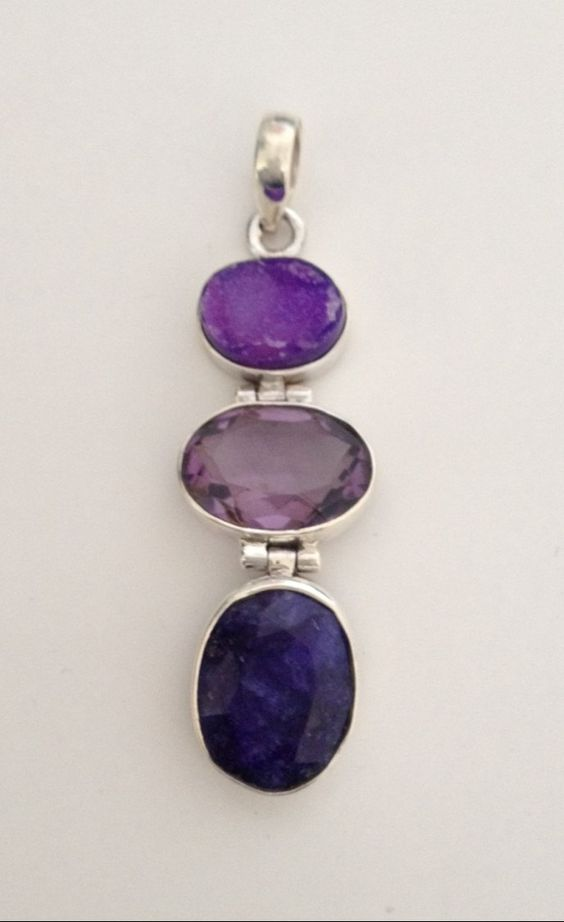 Druzy, Faceted Amethyst & Indian Sapphire Gemstone 925 Sterling Silver Pendant - pinned by pin4etsy.com