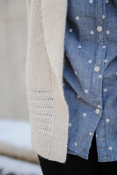 polka dot chambray shirt paired with cozy cardigan: