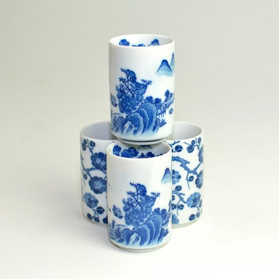 Cobalt Blue Japanese Traditional Art Porcelain Tumblers
