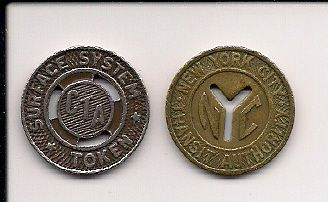 Two Transit Tokens - I believe I received the NYC token in change once, for I have never been there.