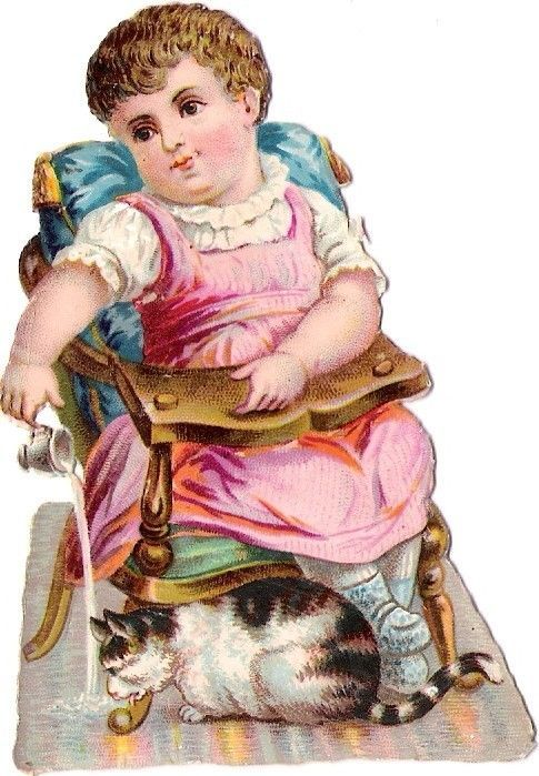 Oblaten Glanzbild scrap diecut chromo Kind child baby girl Katze cat chat: