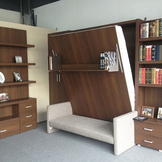 Architecture living rooms and design on pinterest for Small room murphy bed