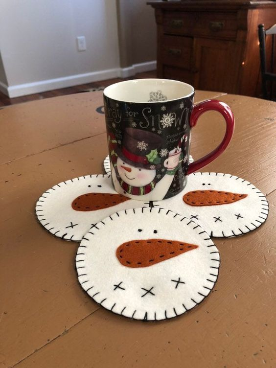 Excited to share this item from my #etsy shop: Snowman coasters /snowman faces /winter coasters / Christmas coasters /snowman decor