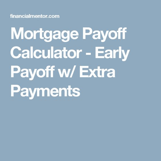 Mortgage Payoff Calculator  Early Payoff W Extra Payments  Home